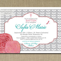 Roses Baptism Invitation Pink Gray Dragonfly Christening Chic Flowers Christian Cross Printable or Printed - Sofia Style
