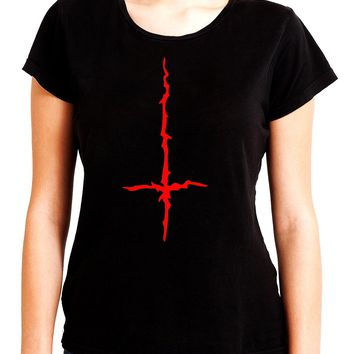 Red Thorn Jagged Inverted Cross Women's Babydoll Shirt Occult Clothing
