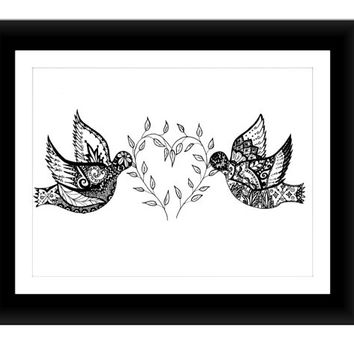 "Lovebirds Pen and Ink Print 8"" x 10"", Home Decor Artwork - Original Hand Drawn Art"