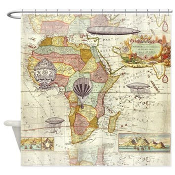 Steampunk Style Shower Curtain - antique map  - hot air balloons - derigibles -  Home Decor - Bathroom - maps, antique brown, beige