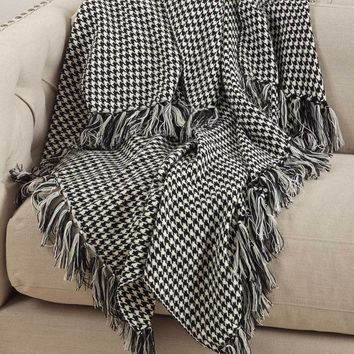 Houndstooth Fringe Throw