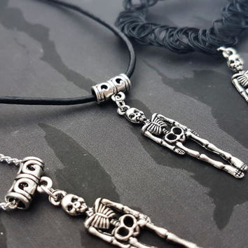 Skeleton Choker, Gothic Necklace, Halloween Jewelry, Bones Charm, Spooky Pendant, Goth Gift, Scary Jewellery, 90s Tattoo Choker, Emo Gift