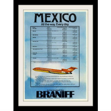 "1973 Braniff Airplane Airline Ad ""Mexico"" Vintage Advertisement Print"