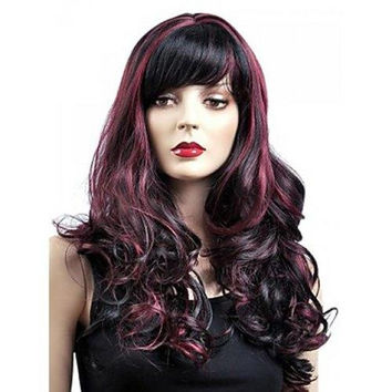 Gorgeous Shaggy Capless Wine Red Highlight Synthetic Long Wavy Women's Wig With Inclined Bang