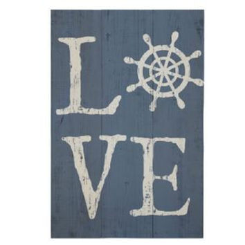 Weathered Coastal Plank Board Sign - LOVE with Ship's Wheel 16-in