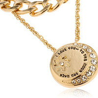"""Goldtone Layered """"Love You to the Moon and Back"""" Pendant with Stones Necklace"""
