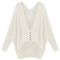ROMWE | ROMWE Oversized Asymmetric Buttoned White Cardigan, The Latest Street Fashion