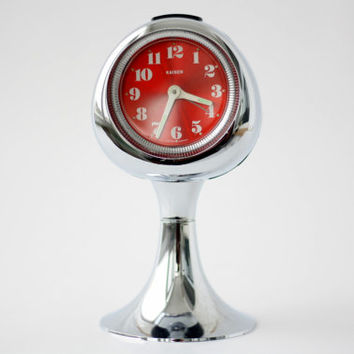 Atomic KAISER Tulip Pedestal Mechanical Clock // Made in West Western Germany // Vintage Space Age Modernist Manual Winding Alarm Clock