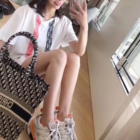 """""""Dior"""" Women Casual Personality Multicolor Stripe Letter Short Sleeve T-shirt Top Tee"""