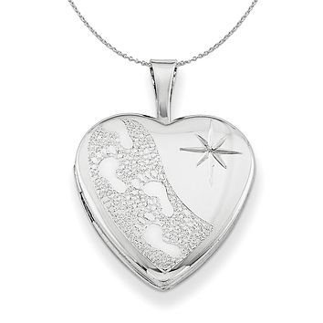 Silver 16mm Footprints and Diamond Cut Star Heart Locket Necklace