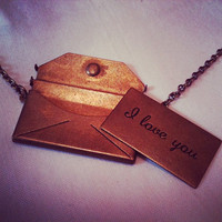Envelope Necklace   'I Love You' by BySilverRose on Etsy