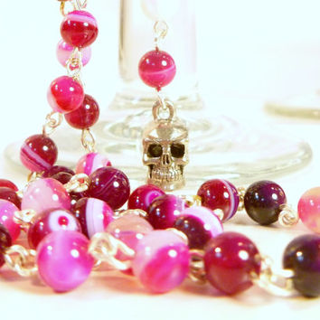 Fuschia Crazy Lace Agate and Silver Skull Extra Long Rosary Style Necklace