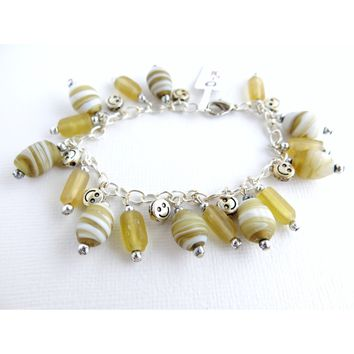 Smiley Face Yellow Glass and Resin Bead Charm Bracelet - Happy Bracelet - Smile Bracelet - Bright Yellow Mustard Yellow Glass
