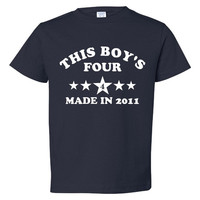 This Boy's four Made in 2011 4TH Birthday T Shirt Happy forth Birthday Boy's Birthday Shirt