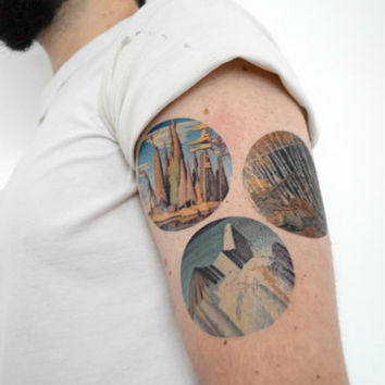Temporary Tattoo Group of Seven - Set of 3, Paintings, Group of Seven, Landscape, Unique, Artist
