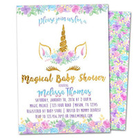 Unicorn Baby Shower Invitations - Unicorn Invitation - Purple Unicorn Head Invitation - Unicorn Face Baby Shower Invite - Girl Unicorn