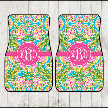 Car Mats Lilly Pulitzer Inspired Nautical Turtle Carmats Monogram Personalized Custom Car Mats Cute Car Accessories For Women Sweet 16