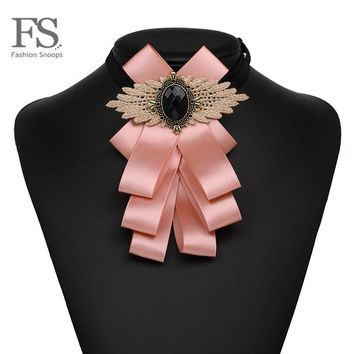 FASHIONSNOOPS 8 Colors Bowknot Cloth Bow Brooches for Women Clip Up Pins Collar New Charm Trendy Party Statement Tie Jewelry