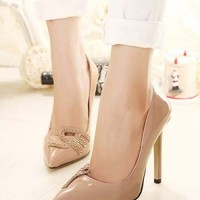Nude Patent Leather Studded Decor Celebrity Inspired Heels