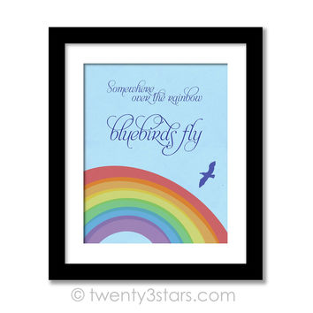 Somewhere Over The Rainbow Wall Art - Bluebirds Fly Song Quote Wall Art - tweny3stars
