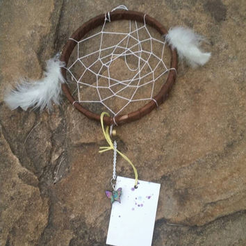 Dream Catcher Ornament, Small Gifts for Home, Home Decor Gift, White Feather, Package Topper