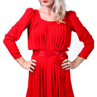Vintage Red Pleated Dress