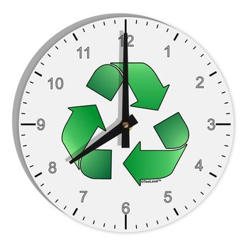 "Recycle Green 8"" Round Wall Clock with Numbers by TooLoud"