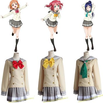 LoveLive School Uniforms Love Live Sunshine! Aqours Takami Chika School Uniform Love Live Lolita Gilr Dress Cosplay Costume