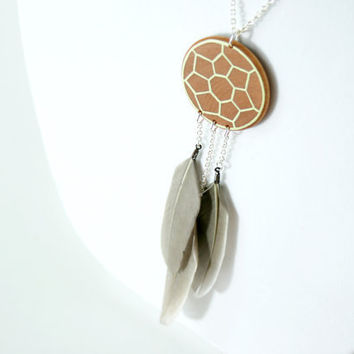 Hand-Painted Wooden Dreamcatcher Necklace in Light Green
