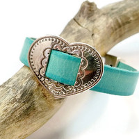 Turquoise Leather Bracelet, Silver Heart and Leather, Silver Heart Bracelet, Valentine's Day,  Gift for Her