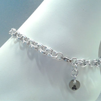 BDSM Chainmaille Submissive O Ring Anklet, Slave Anklet
