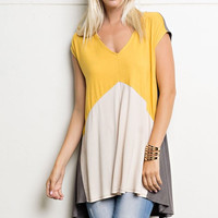 Mustard and Gray Color Block Tunic Top
