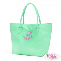 Monogrammed Mint Green Tote Purse at The Pink Monogram