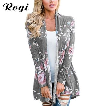 Rogi Women Print Blouse 2017 Autumn Long Sleeve Plaid Kimono Cardigan Loose Aztec Jumper Sweater Tops Plus Size Shirts Blusas