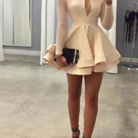 Short dress put on a large hollow solid color skirts DRESS