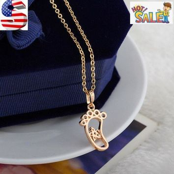 Women Gold Platinum Plated Cubic Zircon Foot Print Star Pendant Necklace