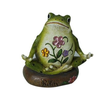 Miniature Fairy Garden and Terrarium Yoga Frog Meditation Frog Figurine 10 x 6.8 x 10CM