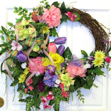 Best decorated grapevine wreaths for spring products on wanelo spring summer floral grapevine wreath multi color floral wreath mightylinksfo