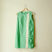 Green Mod Mini Dress, Cotton Sleeveless Dress with Lace