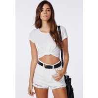 Capped Sleeve Knot Crop Top White - Tops - Jersey Tops - Missguided