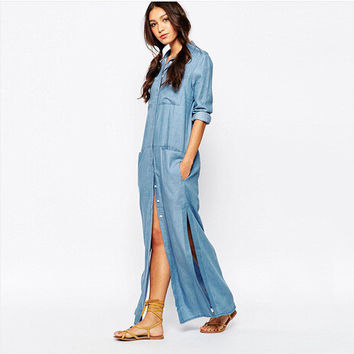 Denim Cotton With Pocket Casual One Piece Dress [6339033409]