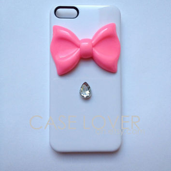 White and Hot Pink with Jewel Couture iPhone 5 iPhone 4 4S Case