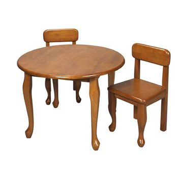 Gift Mark 3000H Round Queen Anne Table and Two Chair Set - Honey