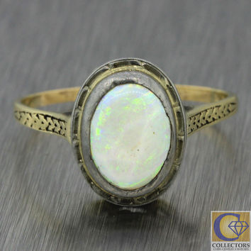 1880s Antique Victorian Estate 14k Solid White Yellow Gold Oval Opal Ring
