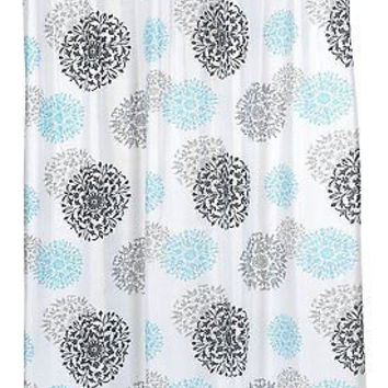 "Spring Bloom Floral Fabric Shower Curtain Size: 70"" x 72"""