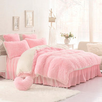 Winter thickening mink goatswool piece set fitted bed skirt bedding