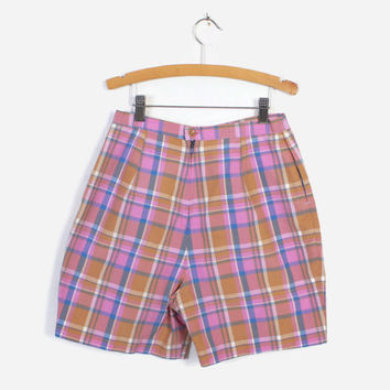 Vintage 60s SHORTS / 1960s High Waisted Cotton Pink Plaid Shorts S