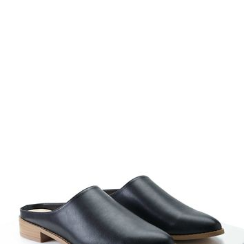Pointed Faux Leather Mules