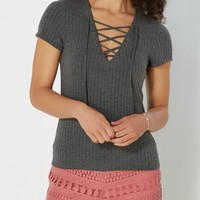 Charcoal Wide Ribbed Lace-Up Tee | Shirts | rue21