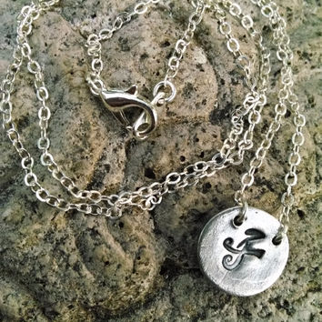 Chinese Kanji Symbol for Mother Pendant/Charm Fine Silver Necklace, Small Mom Pendant Charm Necklace, Sterling Silver Chain